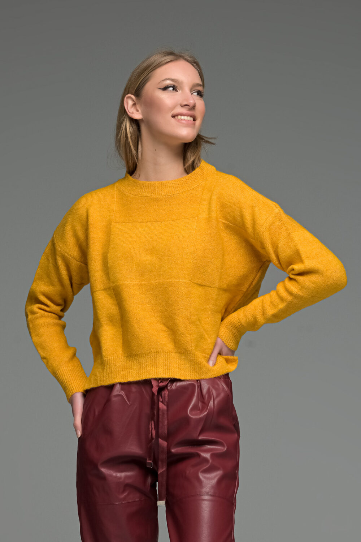 Yellow Round Neck Asymmetric Knit Sweater