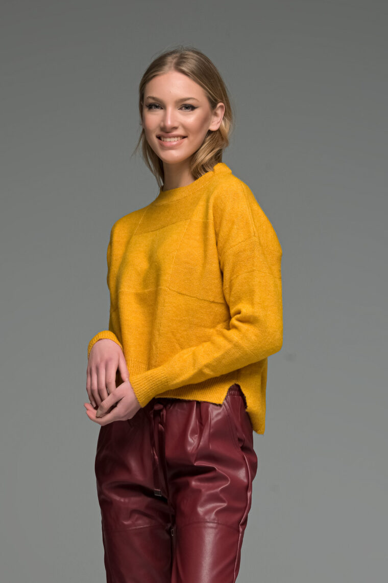 Yellow Round Neck Asymmetric Knit Sweater