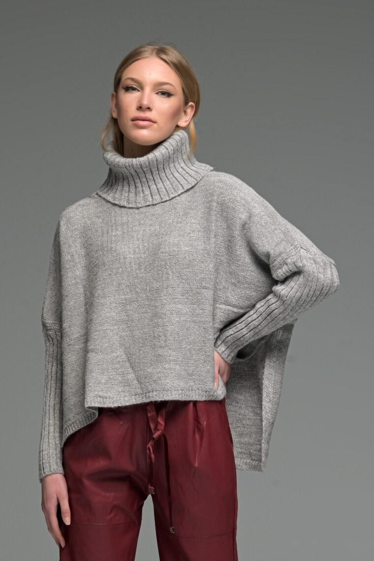 Grey Asymmetric High Neck Knit Sweater