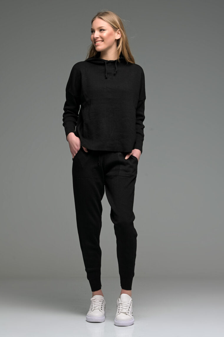 Black Knitted Joggers Set