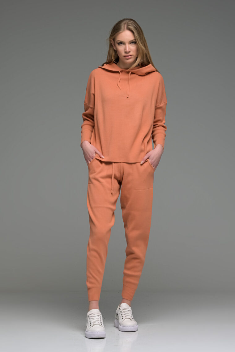 Orange Knitted Joggers Set