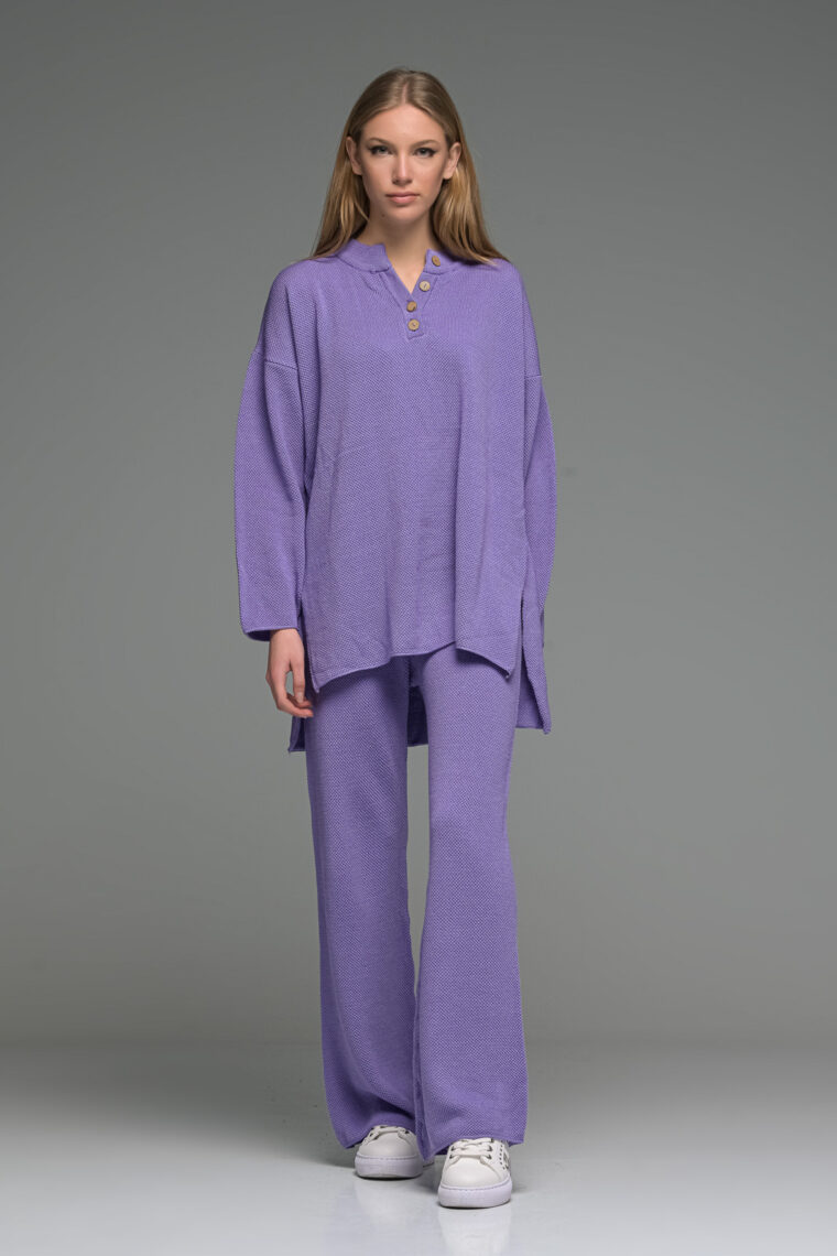 Purple Oversized Buttoned Knit Set