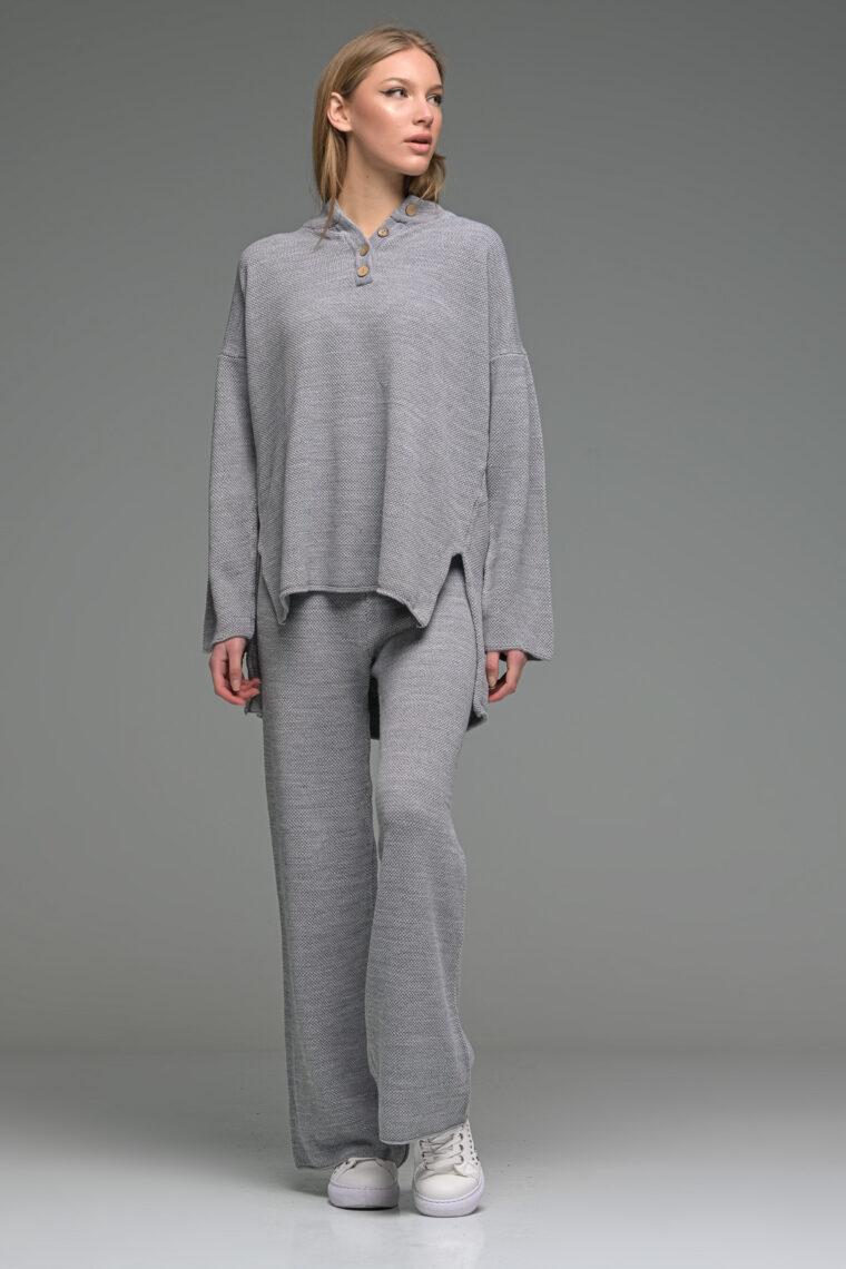 Grey Oversized Buttoned Knit Set