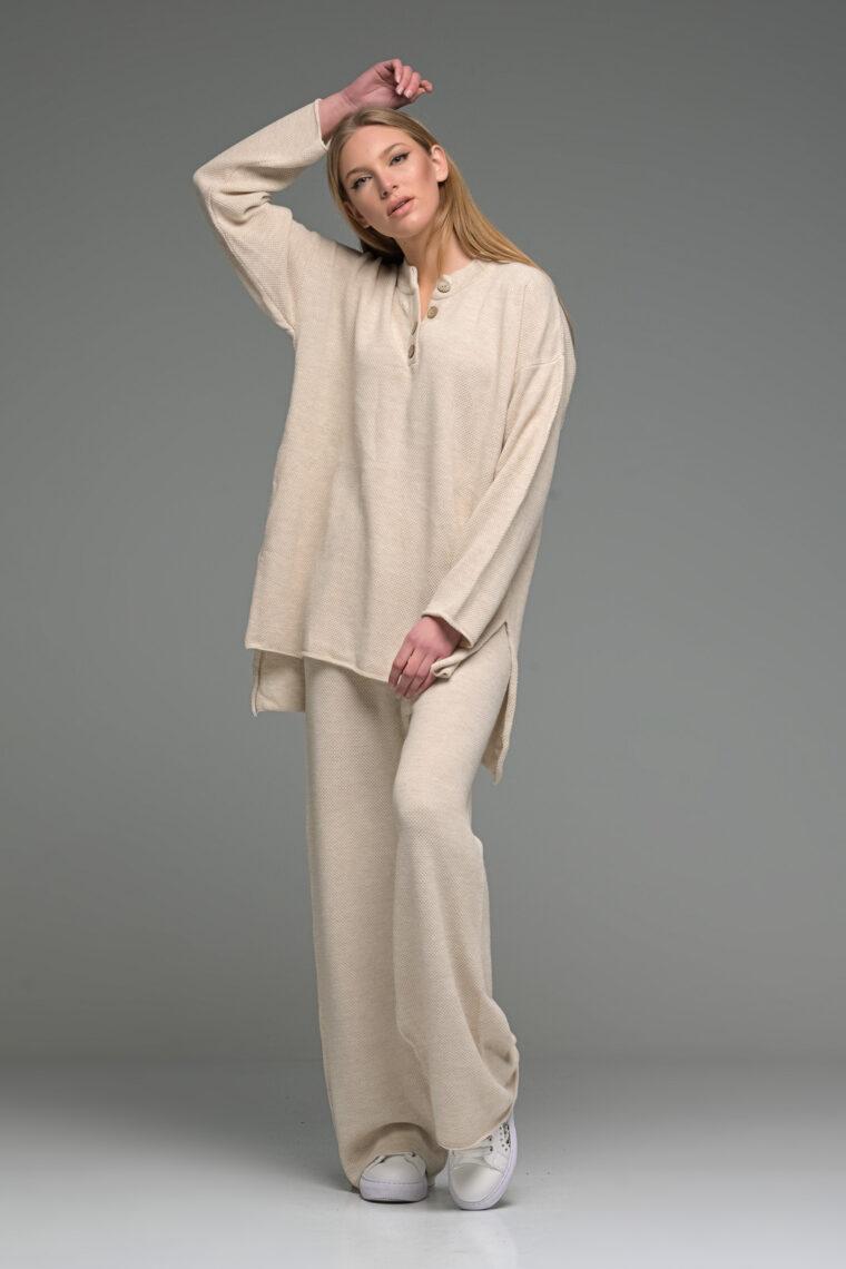 Beige Oversized Buttoned Knit Set
