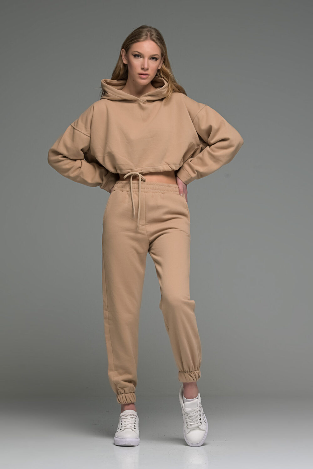 Beige Cropped Joggers Set