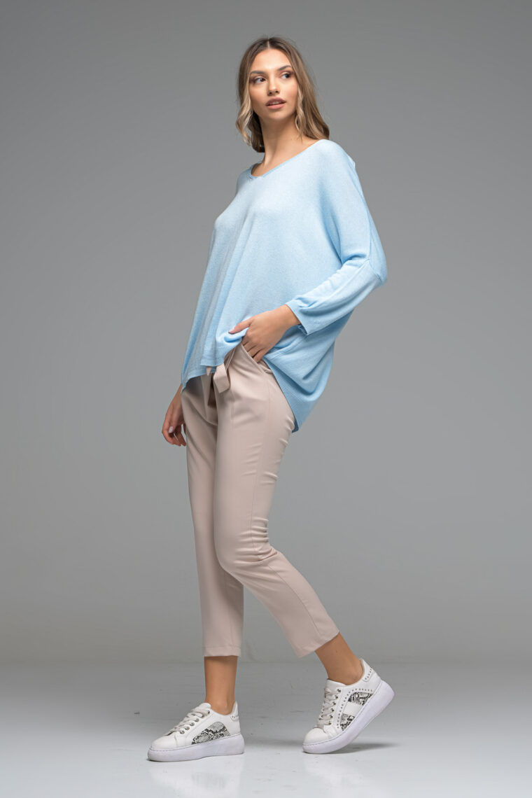 Beige Belted Trousers