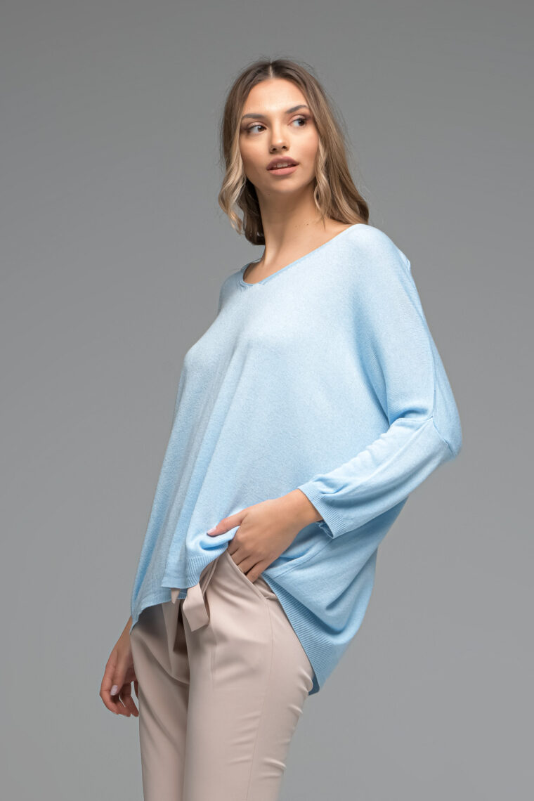 Oversized Light Blue Knit Blouse