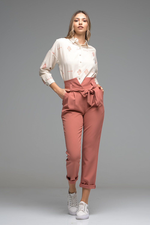 High Waist Coral Trousers