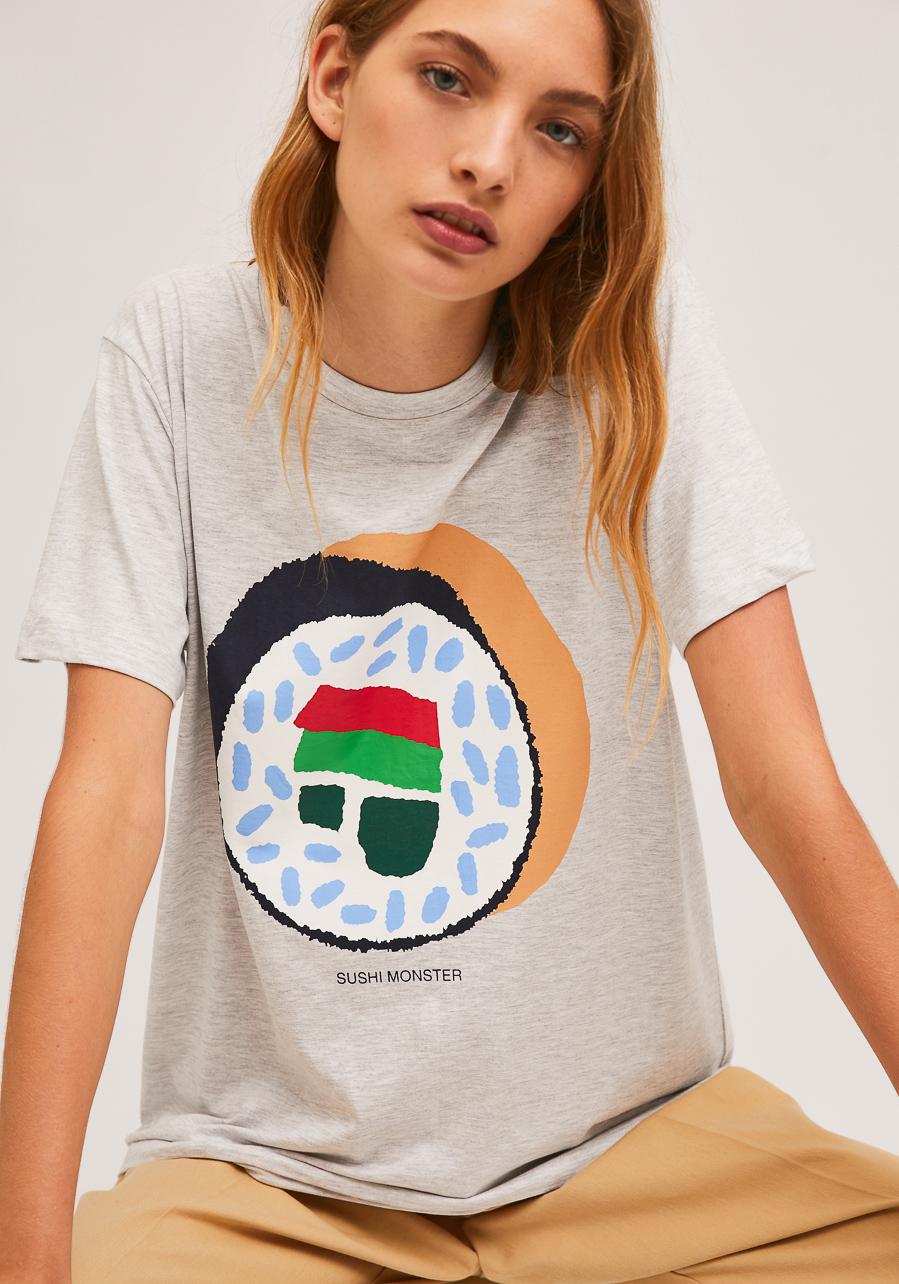 Γκρι T-Shirt Με Print Σούσι Compania Fantastica