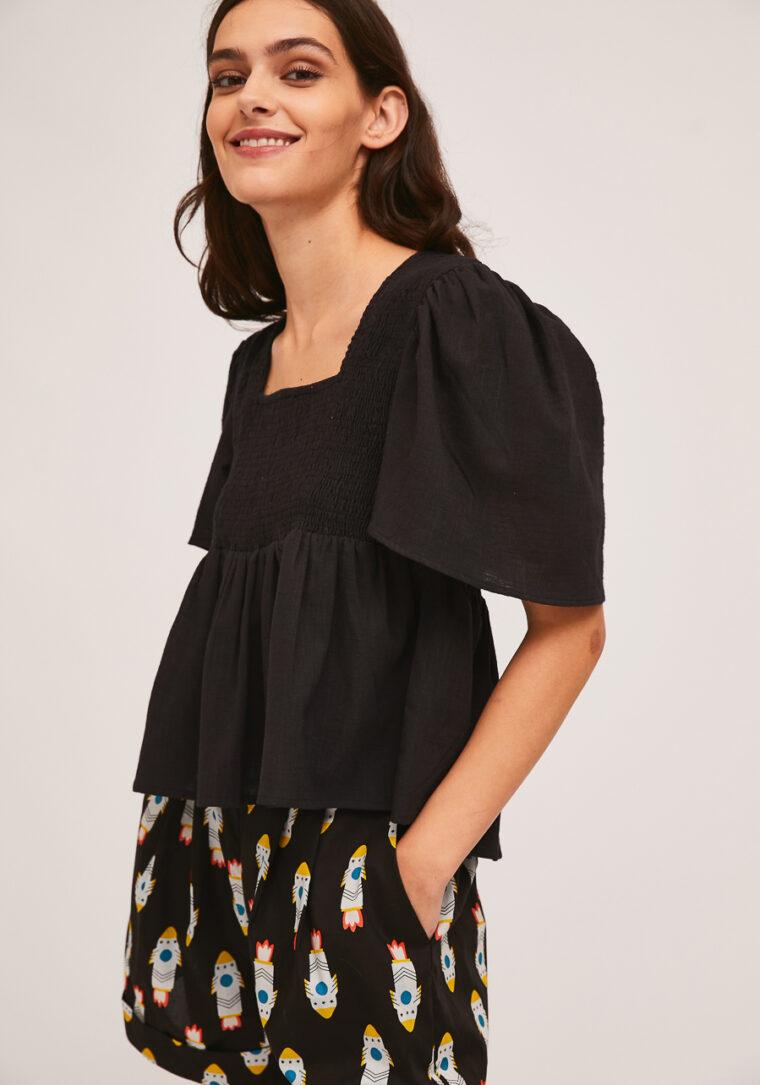 Μαύρη Μπλούζα Με Σφηκοφωλιά Compania Fantastica
