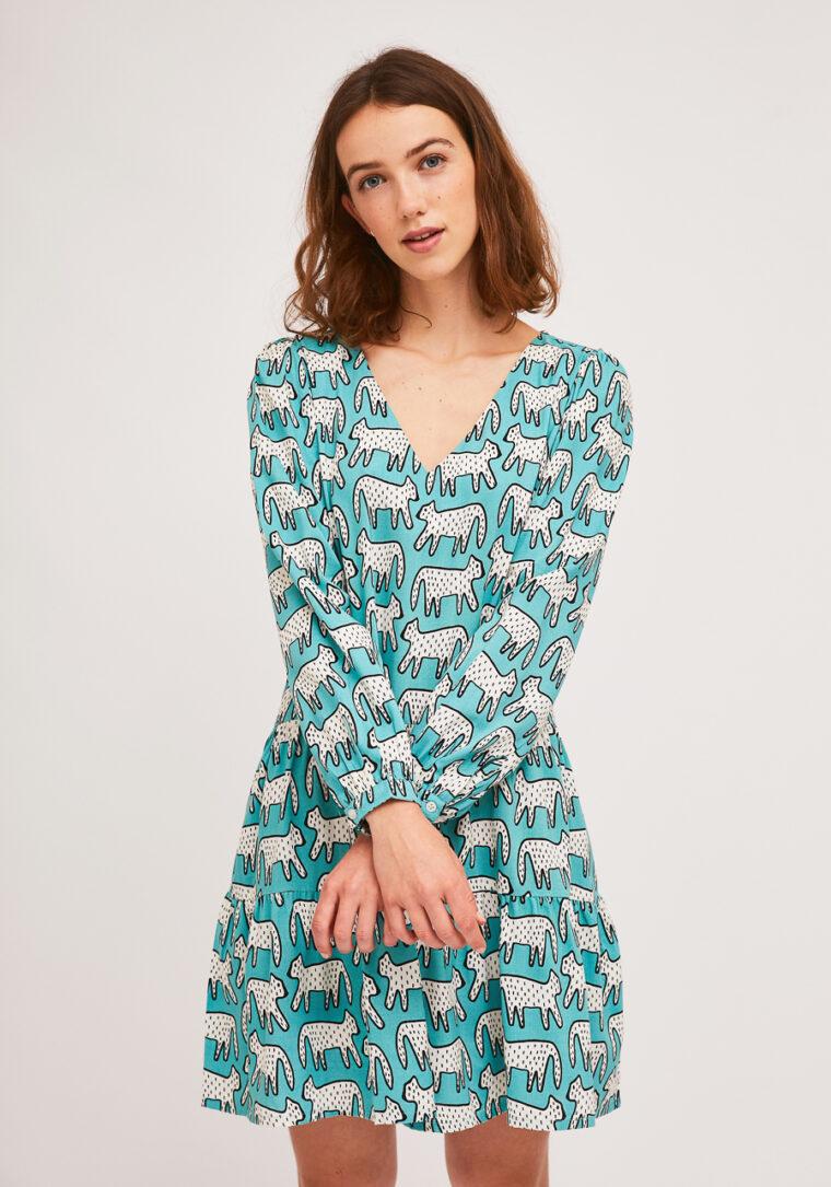 Κοντό Μπλε Φόρεμα Με Dalmatian Print Compania Fantastica