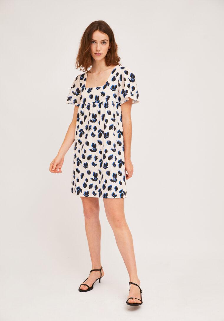 Κοντό Λευκό Φόρεμα Με Print Τουλίπες Compania Fantastica