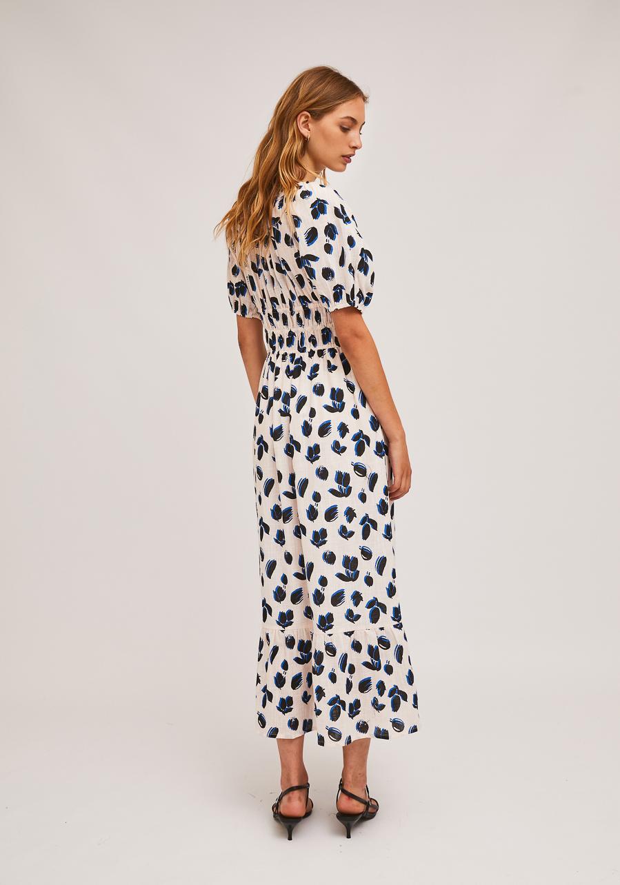 Λευκό Midi Φόρεμα Με Print Τουλίπες Compania Fantastica