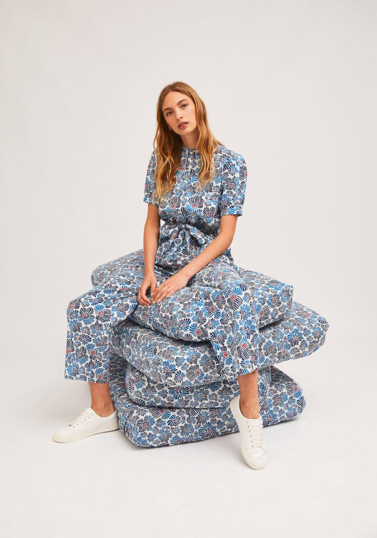 Λευκό Jumpsuit Με Print Μπλε Λουλούδια Compania Fantastica