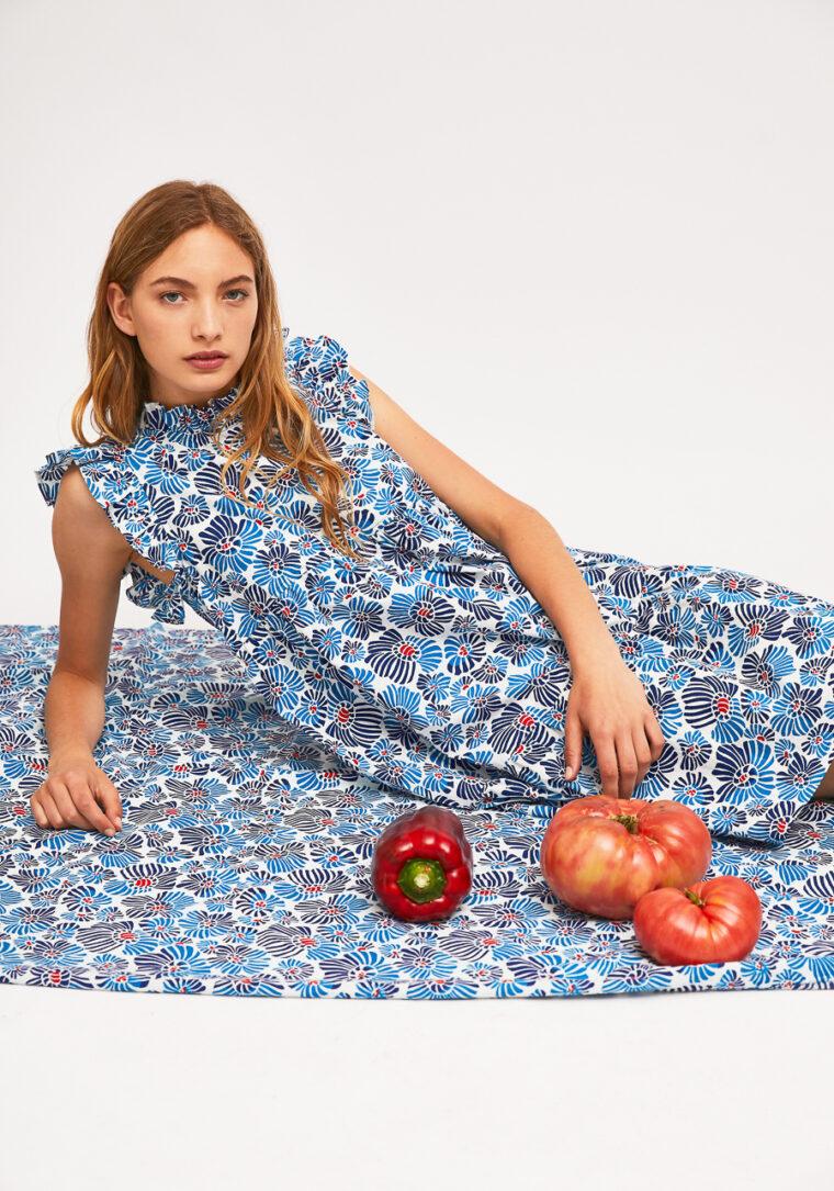 Λευκό Babydoll Φόρεμα Mε Blue Flower Print