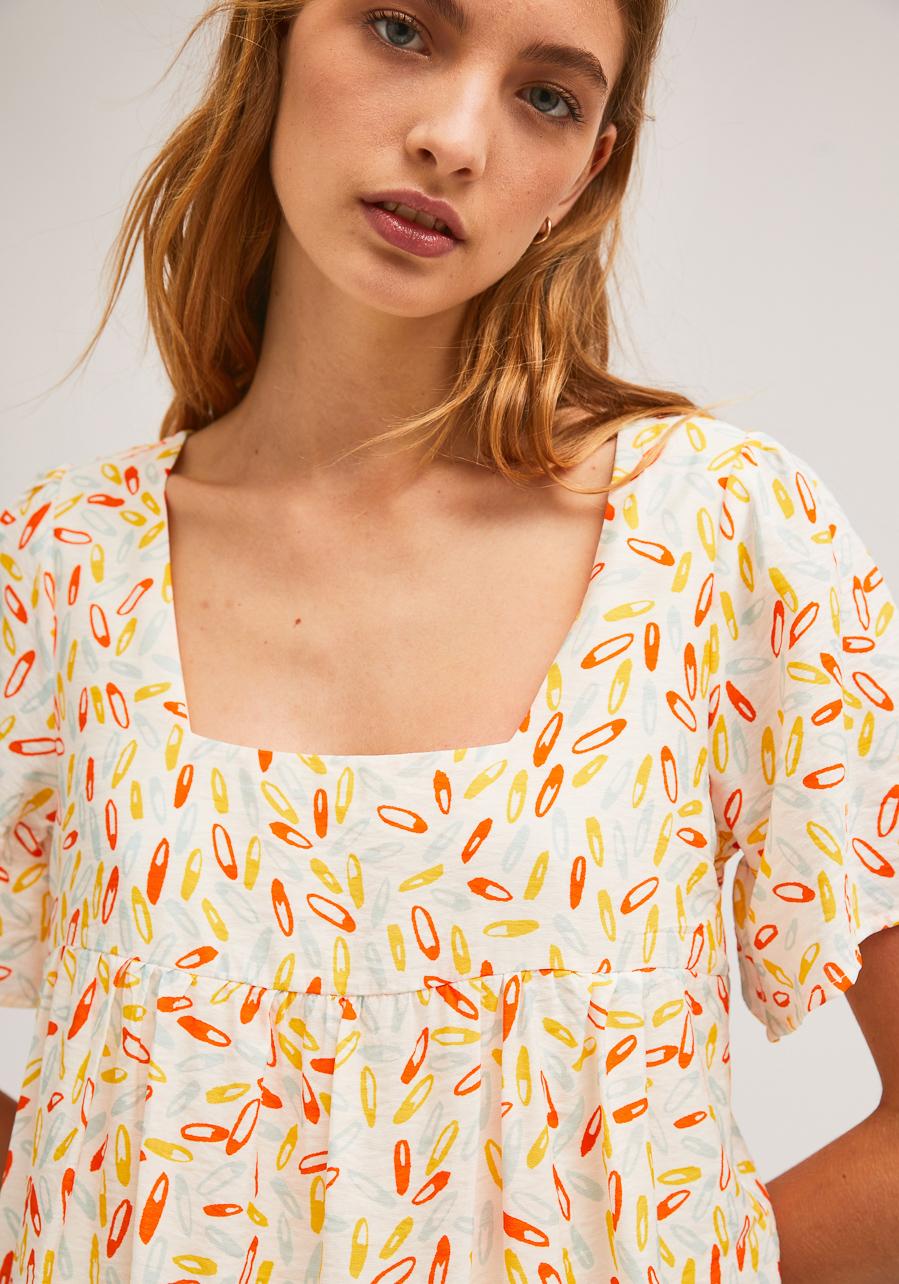 Λευκό Φόρεμα Με Print Παραμάνες Compania Fantastica