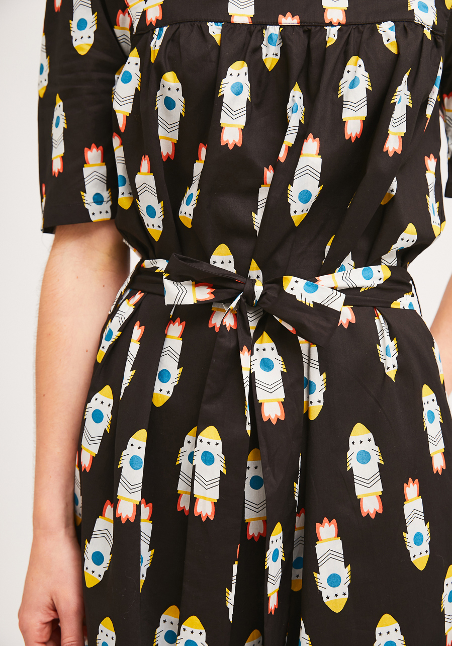 Midi Φόρεμα Με Print Πυραύλους Compania Fantastica