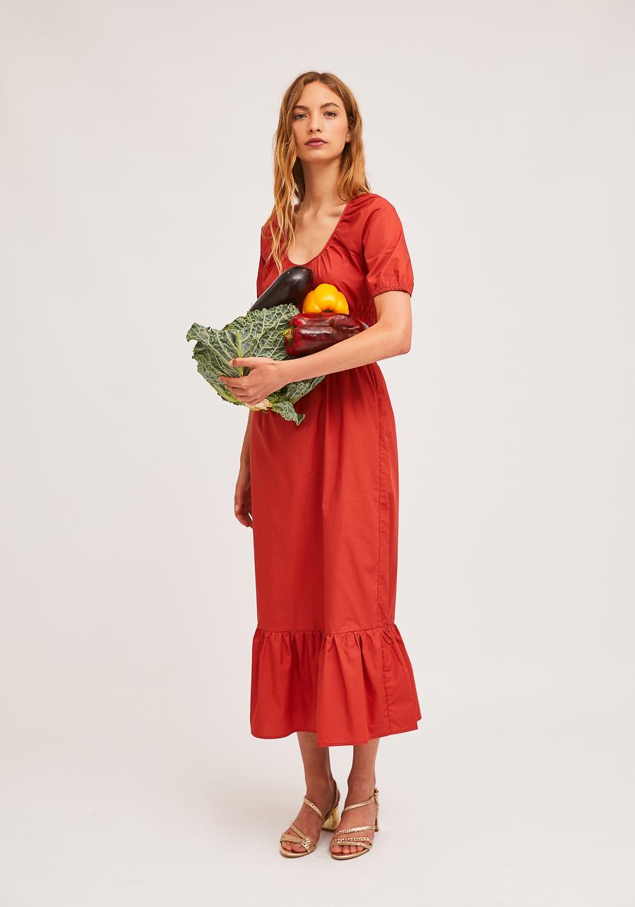 Κοραλλί Midi Φόρεμα Με Ελαστικές Λεπτομέρειες Στη Μέση Compania Fantastica