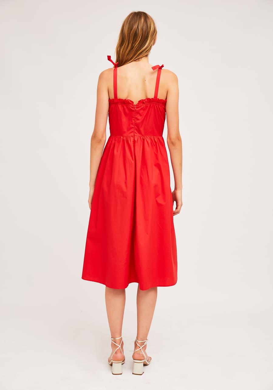 Κόκκινο Midi Φόρεμα Με Τιράντες Compania Fantastica