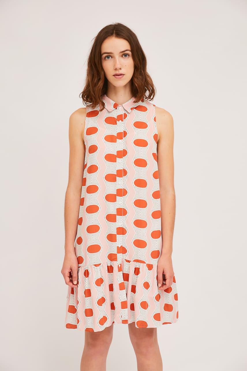Πουκάμισο Φόρεμα Με Γεωμετρικά Οβάλ Print Compania Fantastica