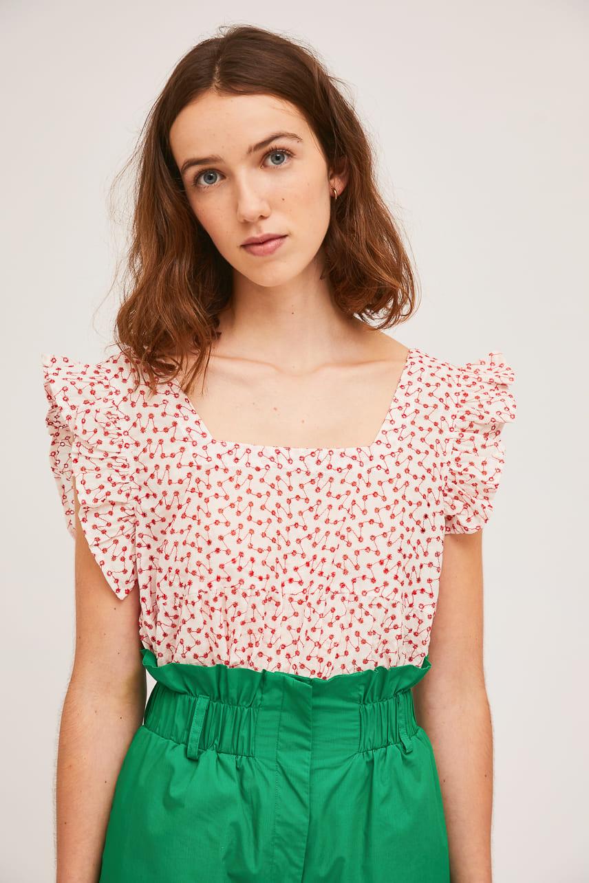 Λευκή Μπλούζα Με Κόκκινες Λεπτομέρειες Compania Fantastica