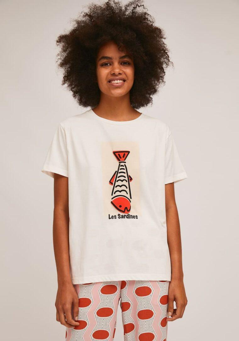 Λευκό T-Shirt Με Print Ψάρι Compania Fantastica