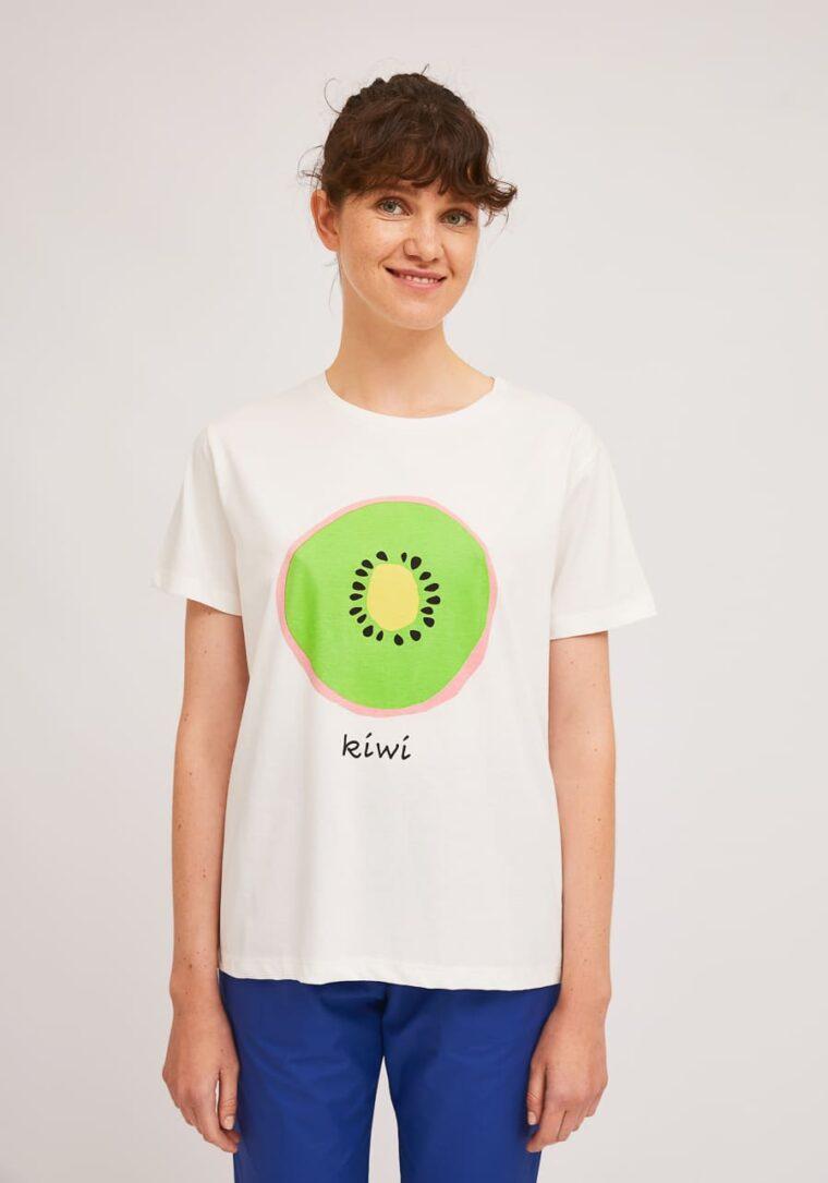 Λευκό T-Shirt Με Print Ακτινίδιο Compania Fantastica