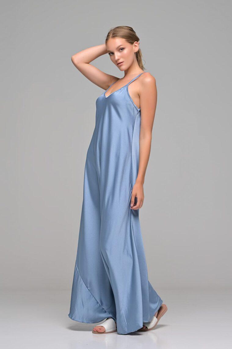 Γαλάζιο Maxi Σατέν Φόρεμα