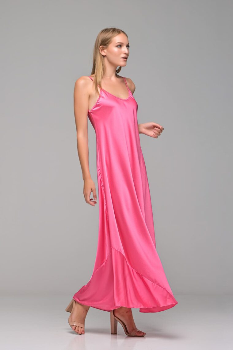 Φούξια Maxi Σατέν Φόρεμα