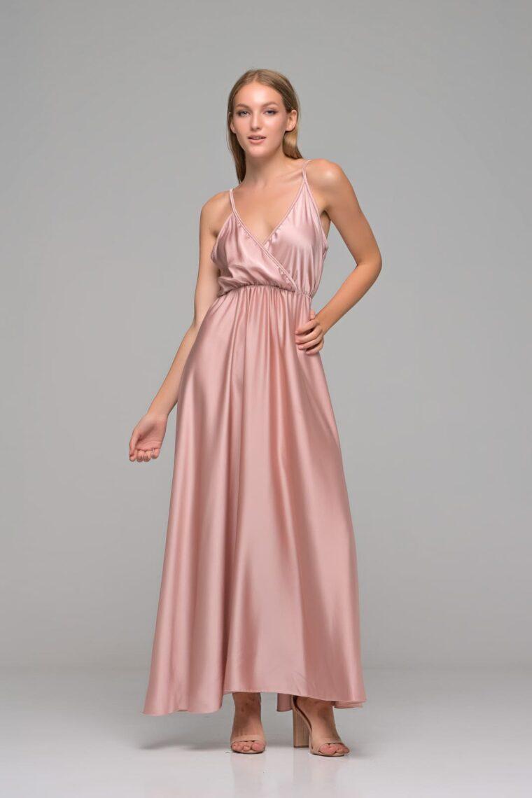 Ροζ Nude Maxi Σατέν Φόρεμα