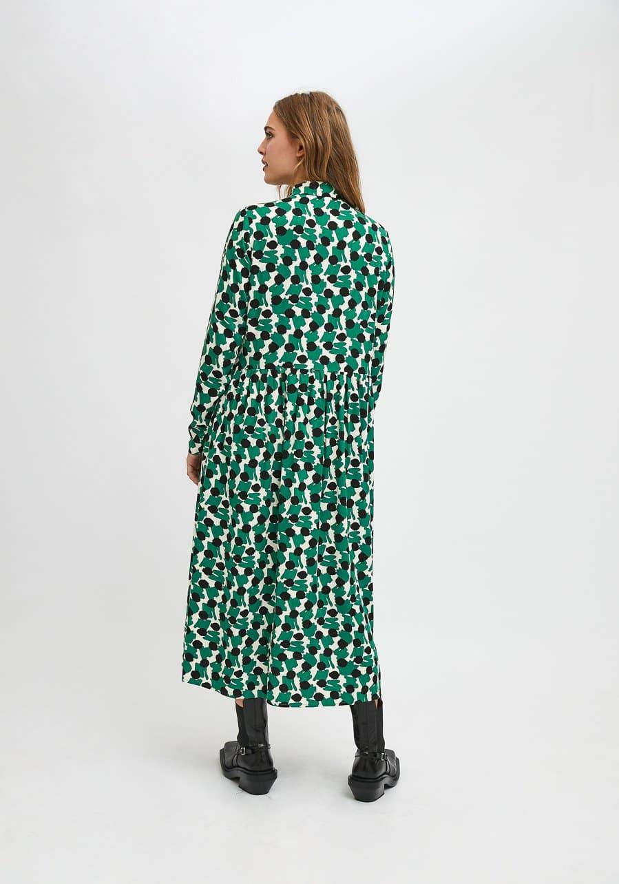 Πράσινο Πουκάμισο Φόρεμα Με Γεωμετρικά Οβάλ Print Compania Fantastica