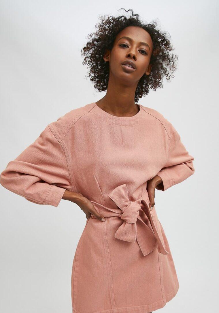 Ροζ Mini Denim Φόρεμα Compania Fantastica