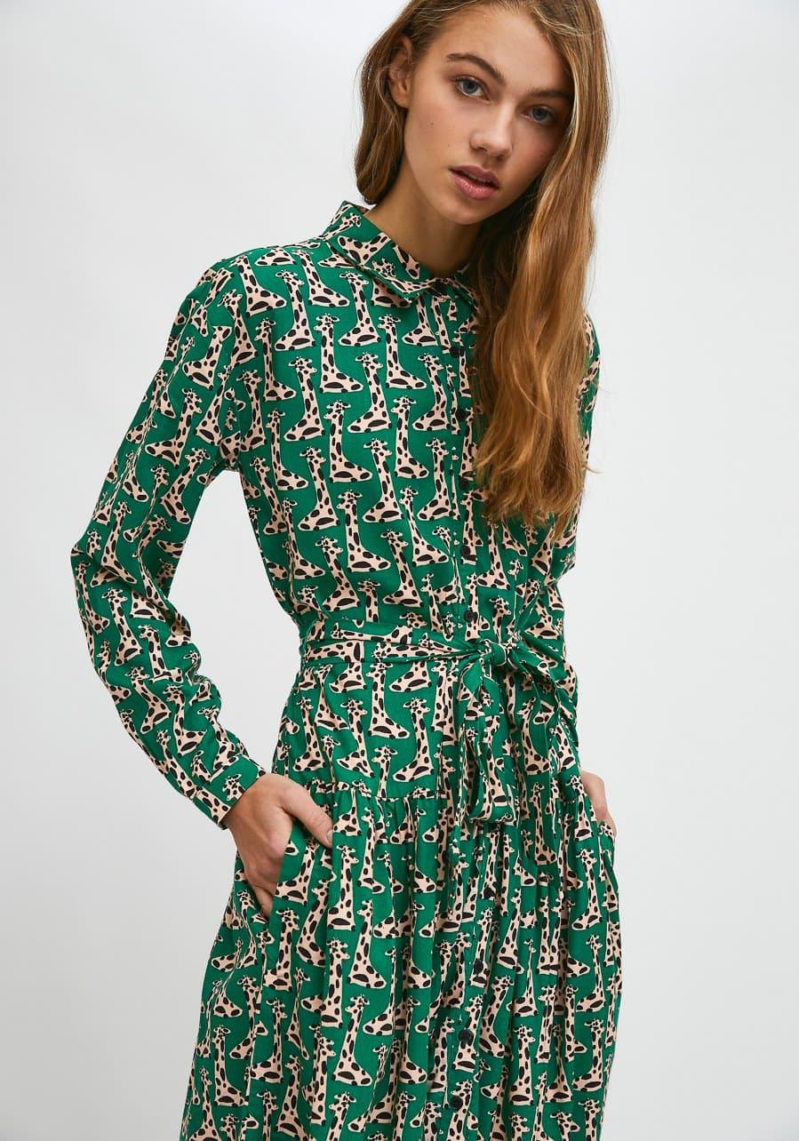 Πουκάμισο Φόρεμα Με  Print Καμηλοπαρδάλεις Compania Fantastica