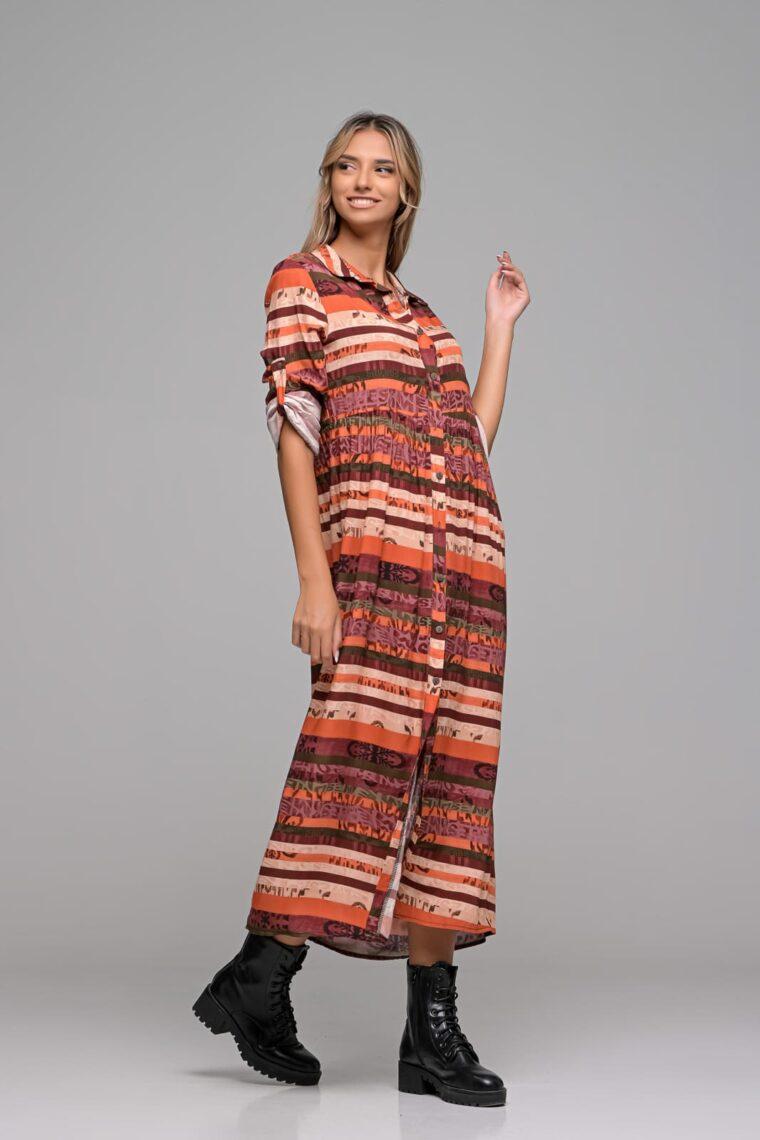Boho Maxi Πουκάμισο Φόρεμα