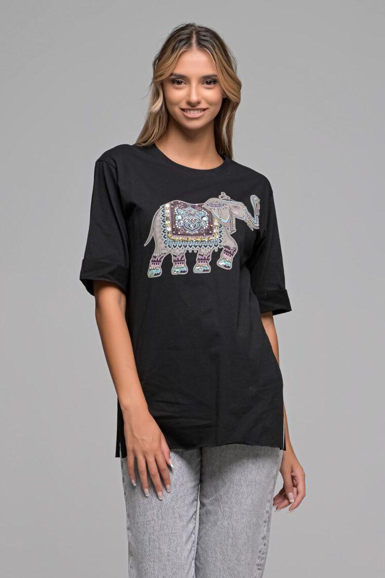 Μαύρο T-shirt Ελέφαντας