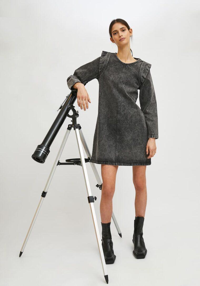 Σκούρο Γκρι Mini Denim Φόρεμα Compania Fantastica