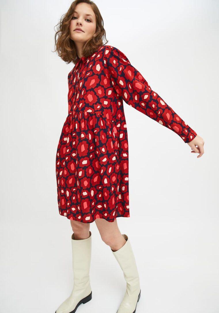 Mini Πουκάμισο Φόρεμα Με Φλοράλ Print Μεγάλα Λουλούδια Compania Fantastica